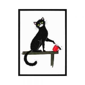 """Plakat """"Kotek z kawą"""""""